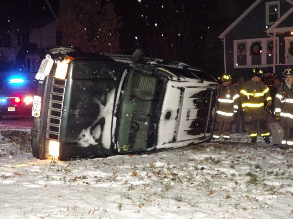 Winter Weather Rollover Crash
