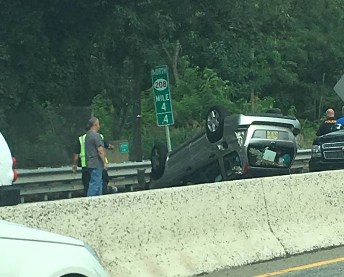 Vehicle Flips in Route 208 Crash in Hawthorne