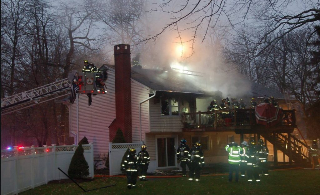 Mutual aid to Wyckoff for a working deck and attic fire